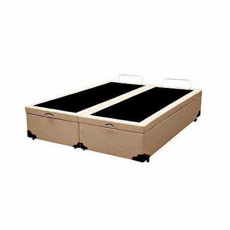 Cama Box Baú King Bipartido Corino Bege - 193x203x40
