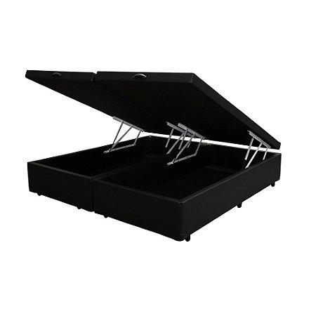 Cama Box Baú King Bipartido Sintético Preto 193x203x40