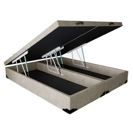 Cama Box Baú Casal Bipartido Suede Bege - 138x188x40