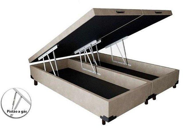 Cama Box Baú Casal Bipartido Corino Bege - 138x188x40