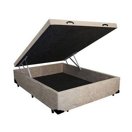 Cama Box Baú Casal Suede Bege - 138x188x40