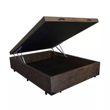 Cama Box Baú Casal Suede Marrom - 138x188x40