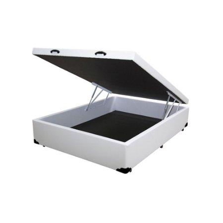 Cama Box Baú Casal Sintético Branco - 138x188x40