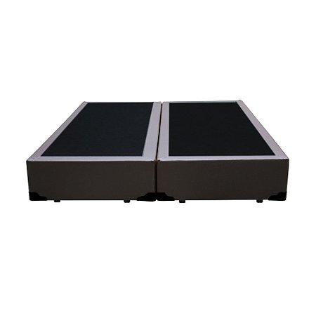 Base Cama Box Casal Bipartido Corino Marrom - 138x188X39
