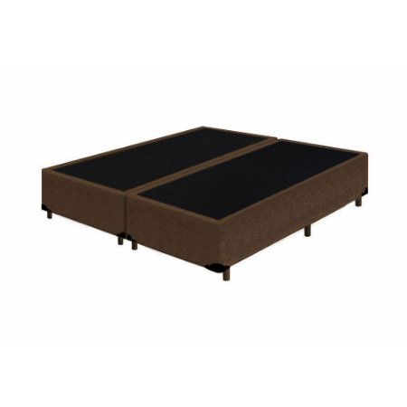 Base Cama Box Casal Bipartido Suede Marrom - 138x188X39