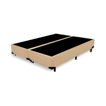 Base Cama Box King Bipartido Corino Bege - 193x203X39