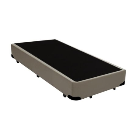 Base Cama Box Solteiro Corino Bege - 78x188X39