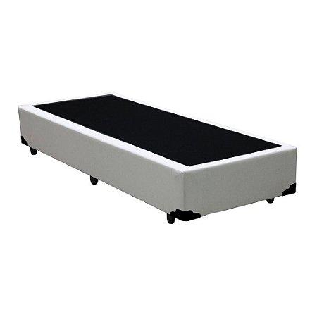 Base Cama Box Solteiro Corino Branca - 78x188X39