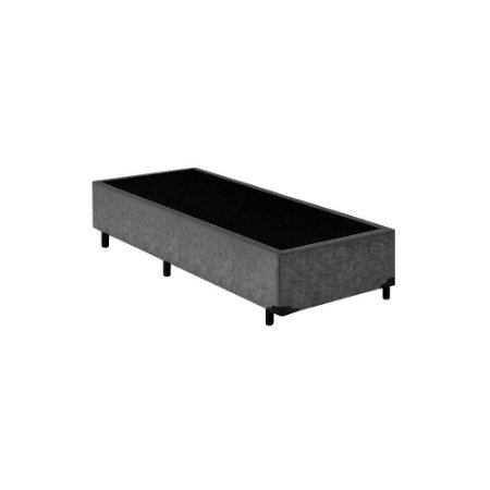 Base Cama Box Solteiro Suede Cinza - 78x188X39