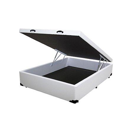 Cama Box Baú Solteirão Corino Branco - 108x198x40