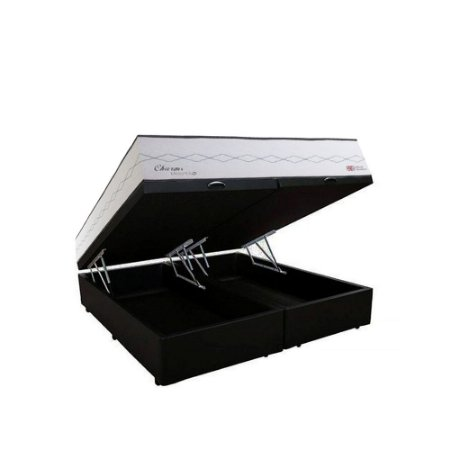 Conjunto Cama Box Baú Suede Preto Bipartido+ Colchão Queen Herval Molas Maxspring Charms (158x198x73)