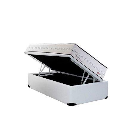 Conjunto Cama Box Baú Sintético Branco + Colchão Solteiro Herval Molas Maxspring Charms (88x188x73)