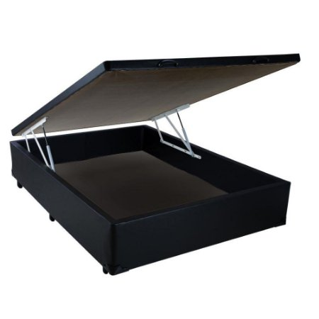 Cama Box Baú Casal Sintético Preto - 138x188x40