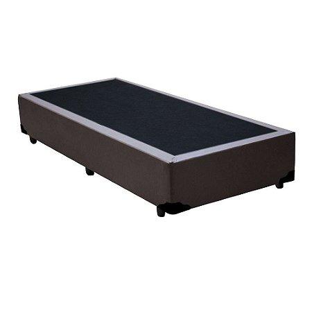 Base Cama Box Solteiro Sintético Marrom - 88x188X39