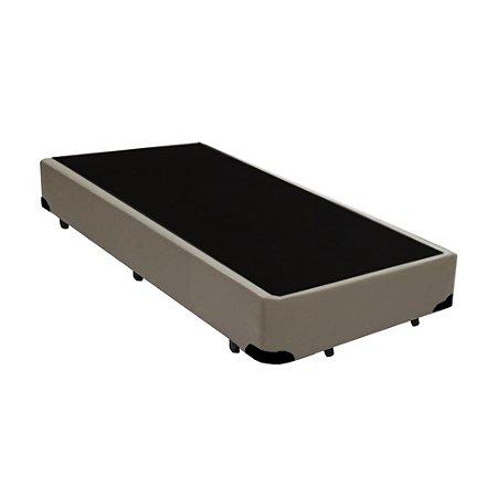 Base Cama Box Solteiro Corino Bege - 88x188X39