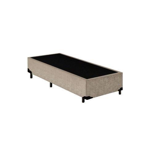 Base Cama Box Solteiro Suede Bege - 88x188X39
