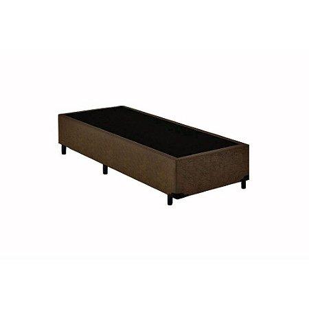 Base Cama Box Solteiro Suede Marrom - 88x188X39
