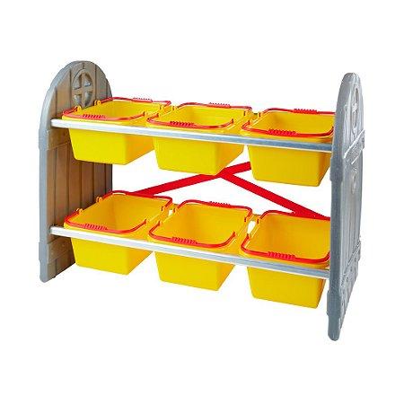 Organizador de Brinquedos Infantil Amarelo 6 Cestos Freso