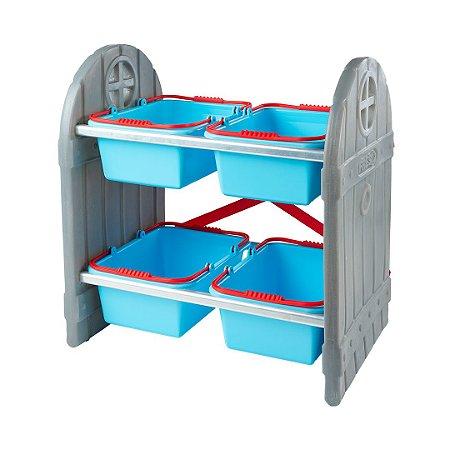 Organizador de Brinquedos Infantil Azul 4 Cestos Freso