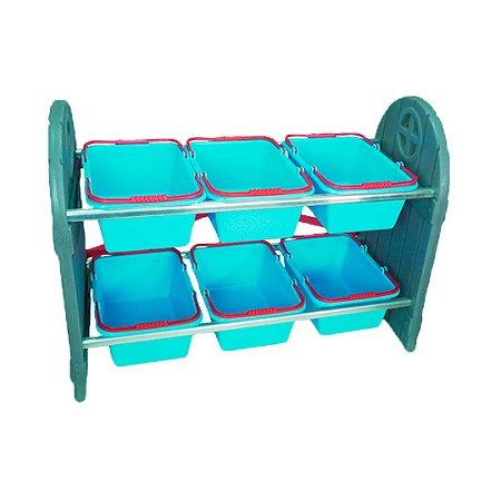 Organizador de Brinquedos Infantil Azul 6 Cestos Freso