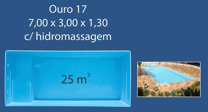 Piscina Fibra 17 (7,0x3,0x1,30 com Hidro) Ouro Preto