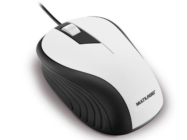 MOUSE COM FIO MOUSE MO224 ANATOMICO PRETO E BRANCO 1200DPI USB