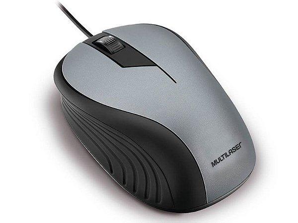 MOUSE COM FIO MOUSE MO225 ANATOMICO PRETO E CINZA 1200DPI USB