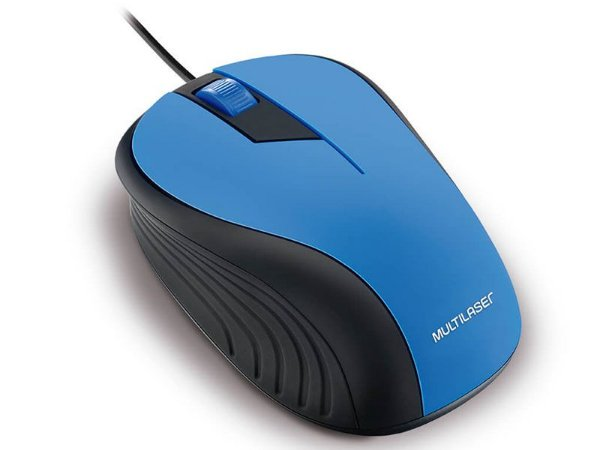 MOUSE COM FIO MOUSE MO226 ANATOMICO PRETO E  AZUL 1200DPI USB