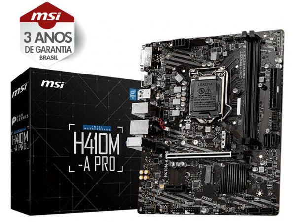 PLACA MÃE DESKTOP LGA 1200 INTEL PLACA MÃE  H410M-A PRO MATX DDR4 2933MHZ M.2 HDMI USB 3.2