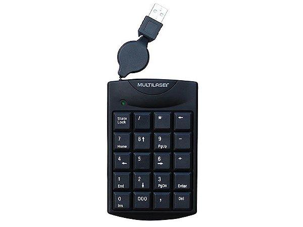 TECLADO COM FIO TECLADO TC230 NUMERICO COM CABO RETRATIL USB