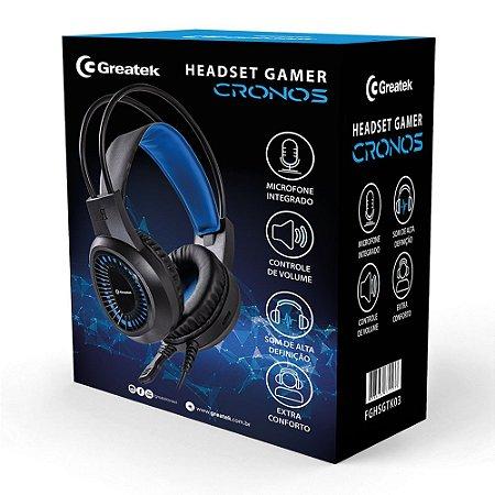 Headset Gamer Greatek Cronos C\ Fio E Led Azul Ps4 Xbox Pc