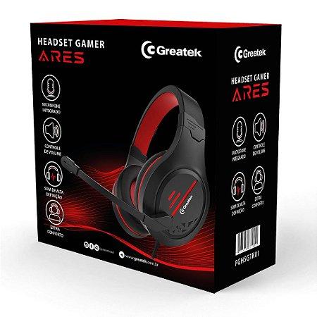 Headset Gamer Greatek Ares C\ Fio E Led Vermelho Ps4 Xbox Pc