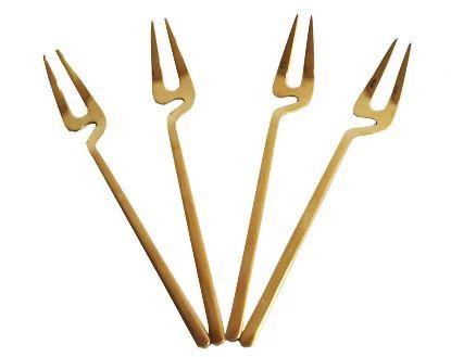 Kit 4 pçs de Garfos Sobremesa/Petiscos Dourado Modern