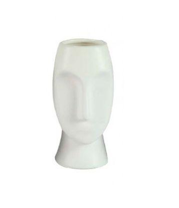 Vaso Rosto em Porcelana Branco 16cm