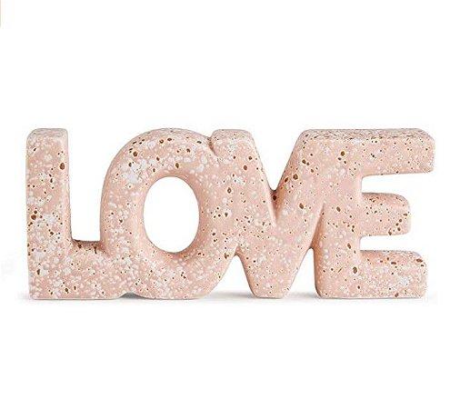 Enfeite Decorativo de Mesa Love Rosa Em Cerâmica Rosa