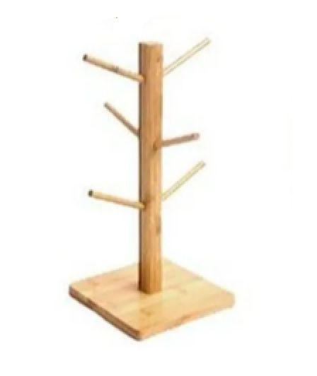 Suporte de Xícaras de Bambu Base Redonda