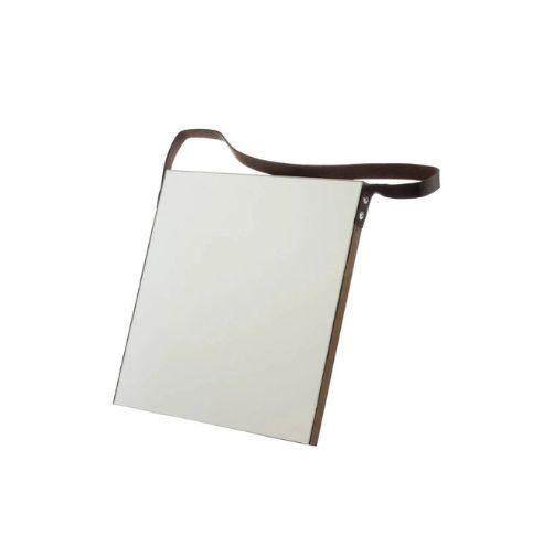 Espelho com Alca Square Leather Hold Preto 25x25cm