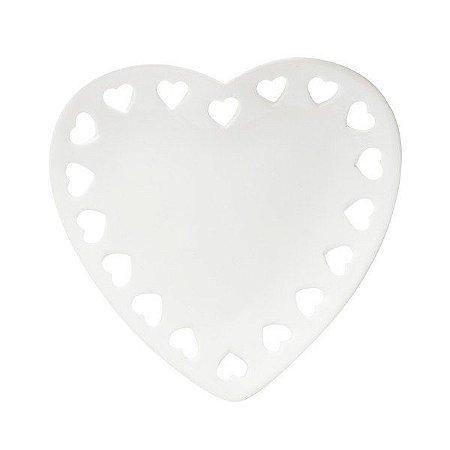 Prato Decorativo Borda Coração Branco 18 cm