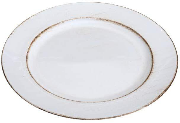 Sousplat para Chá Opala Patinado De Plástico Branco E Marrom Individual 25cm