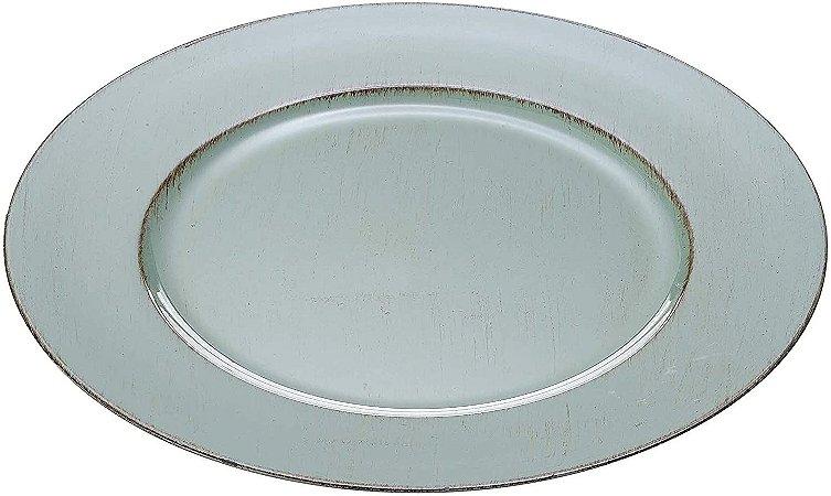 Sousplat para Chá Opala Patinado De Plástico Verde Individual 33cm