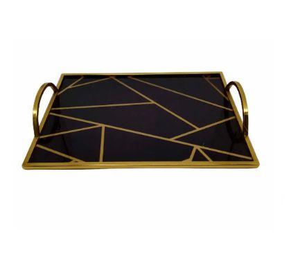 Bandeja de Metal Espelhada Retangular Dourada 33x24x5cm