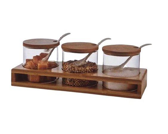 Conjunto de 3 Potes de Condimento com Colher em Bambu