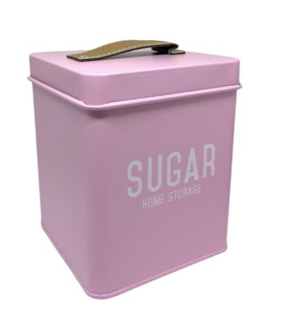 Lata Para Mantimentos Sugar em Metal Rosa