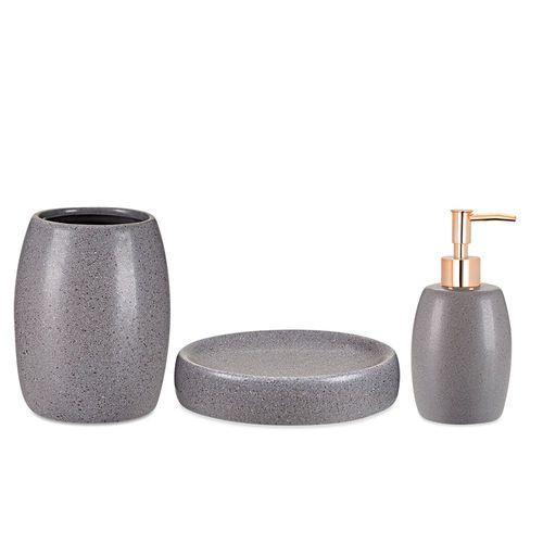 Kit Para Banheiro Cinza Em Ceramica 3 Peças