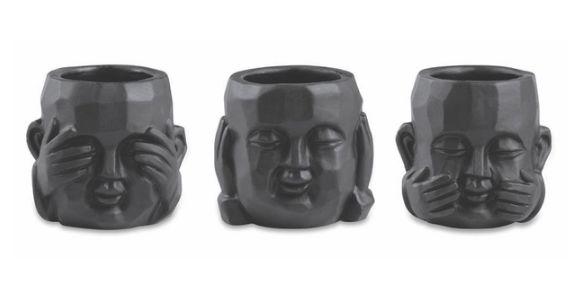 Kit Buda Cachepot Preto em Cimento  3 Pçs