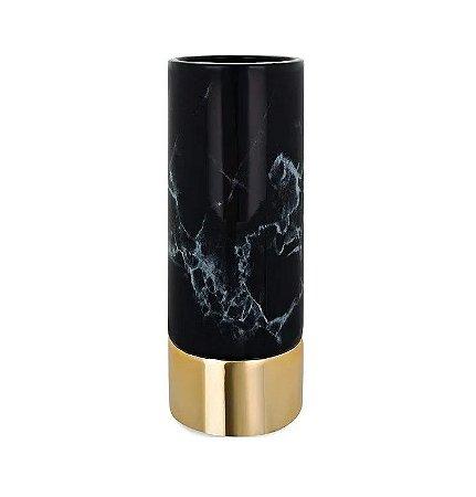 Vaso Marmore Preto e Dourado em Ceramica 25 cm