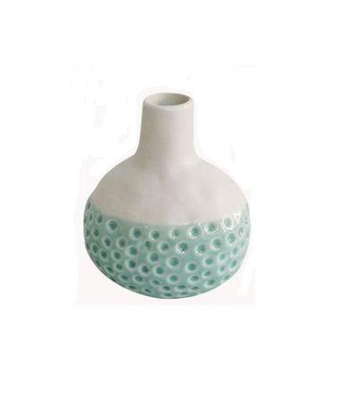 Vaso Bicolor de Ceramica Verde