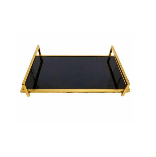 Bandeja de Metal Espelhada Retangular Dourada 35cm