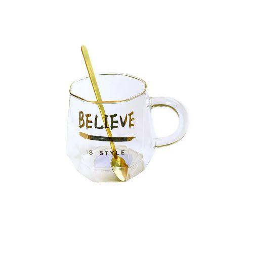 Caneca Believe de Vidro com Colher - 480ml