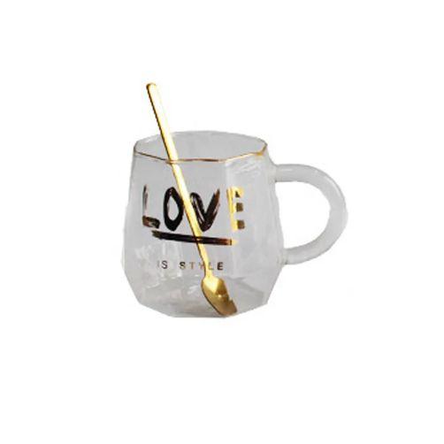 Caneca Love de Vidro com Colher - 480ml